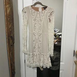 BCBGMaxAzria XXS ✨ white unique velvet dress